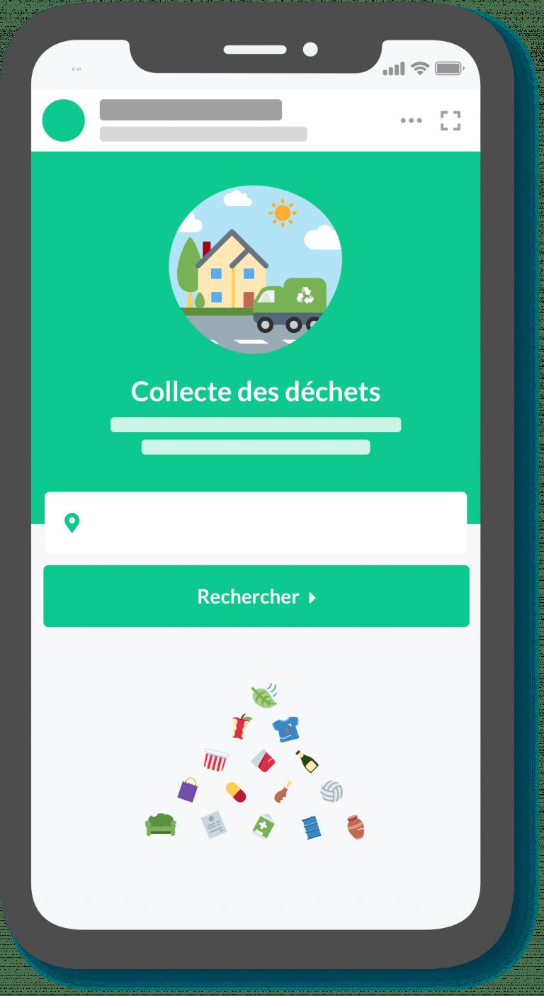 Exemple de widget information déchets en app sur smartphone