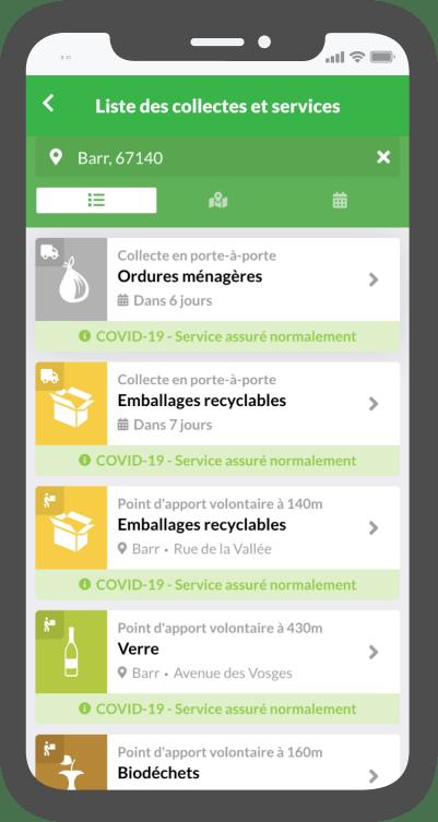 Visualisation des collectes d'ordures ménagères